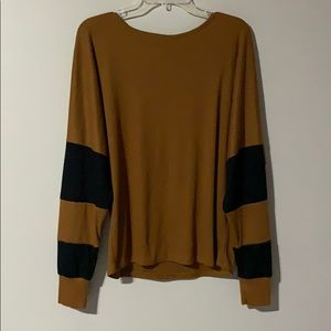 Brown & Black Long Sleeve Sweater Top - Size L